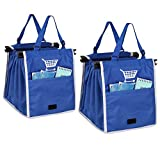 ORICSSON 2 Packs Foldable Nylon Reusable Eco-friendly Grocery Bag for Cart, Blue