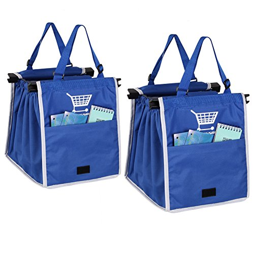 Oricsson 2 Packs Foldable Nylon Reusable Eco Friendly Grocery Bag For Cart  Blue