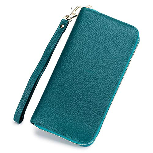 imeetu RFID Leather Clutch Bag Wallet Credit Card Holder Organizer case Long Purse(Blue) ()