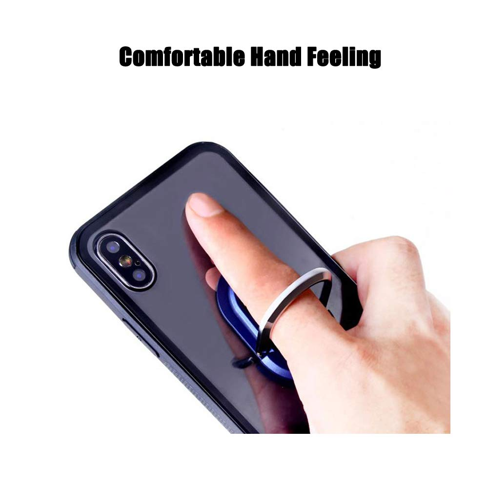 Phone Holder Auzky 2 in 1 Foldable Phone Ring Holder Car Air Vent Mount Phone Bracket Phone Finger Stand Grip Black
