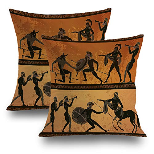 Shrahala Throw Pillow Covers, Decorative Pillowcases 18x18 inch Set of 2 Ancient Greece Black Figure Pottery Hunting for Minotaur Cushion Case for Sofa Bedroom Car Throw Pillow Covers 45cm x - Vases Art Greek