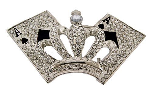 - Letter Love Fashion Silver Royal Crown Belt Buckle Hip Hop Bling King Queen Iced Out Gold Blue Stone