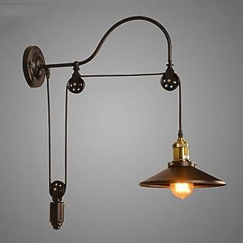 Vintage Retro Loft lámpara de pared Ajustable de Hierro de elevación Polea Lámpara dormitorio estudio oficina