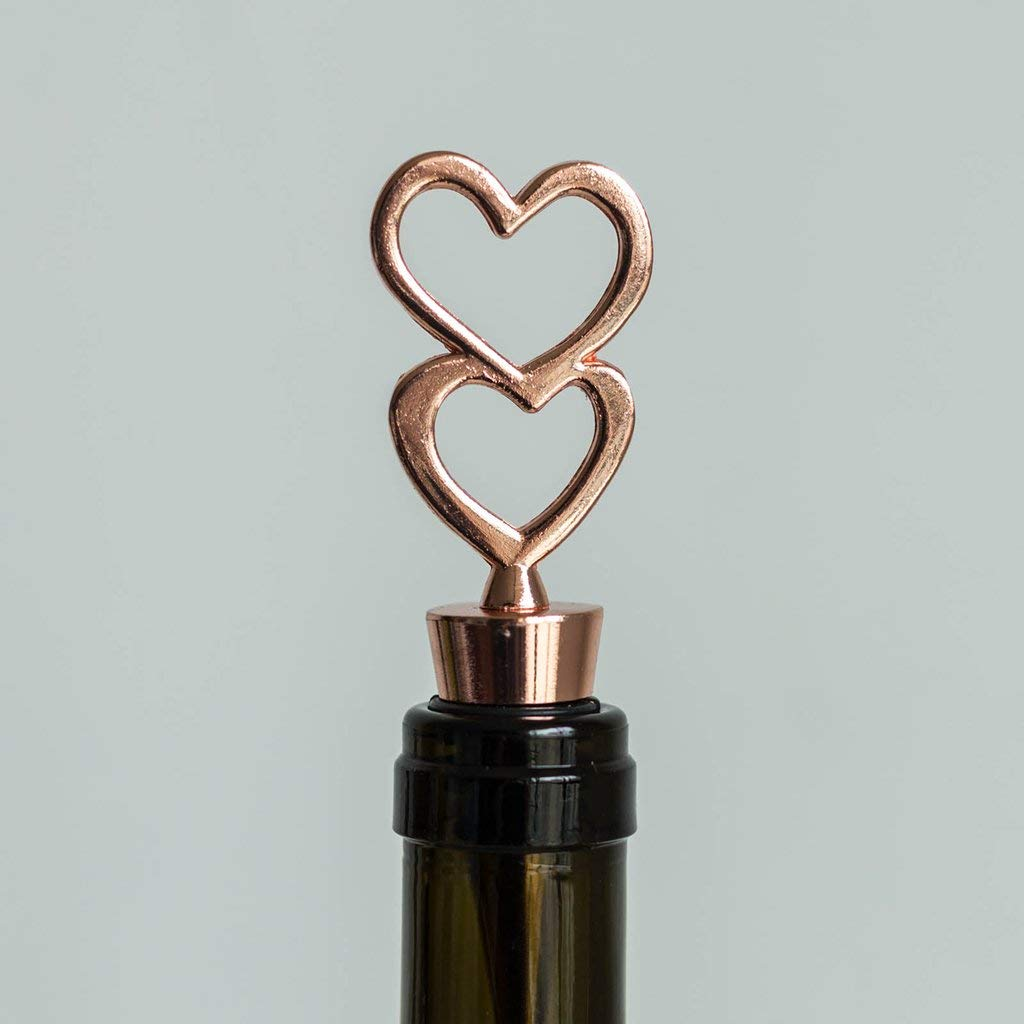 Tableclothsfactory Rose Gold Metal Double Heart Wine Bottle Stopper Wedding Favor With Velvet Gift Box - Lot of 25 by Tableclothsfactory (Image #4)