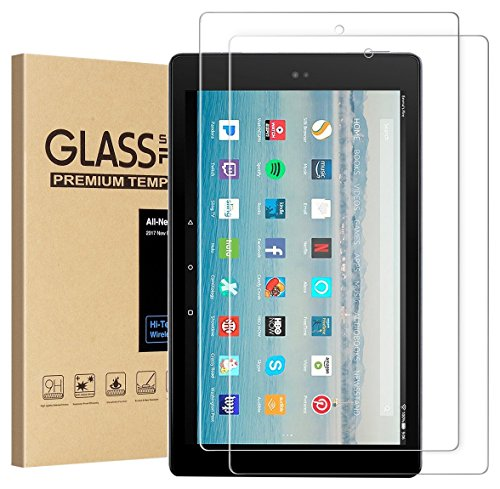 All-New Fire HD 10 Screen Protector,[2-Packs] Tempered Glass Screen Protector Film for All-New Fire HD 10 Tablet with 10.1