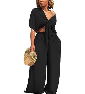 de95e92f463d Ophestin Women 2 Piece Outfits Tie Knot Crop Top Wide Leg Floor Length Pants  Set