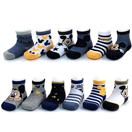 Disney Baby Boys Mickey Mouse Assorted Color Design 12 Pair Socks Set, Age 0-24 Months (0-6 Months, Grey-Blue-Yellow Collection) from Disney