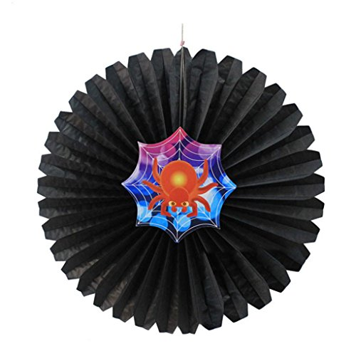 Halloween Party Decoration Black Hanging Paper Pinwheel Flower Fans (# C)