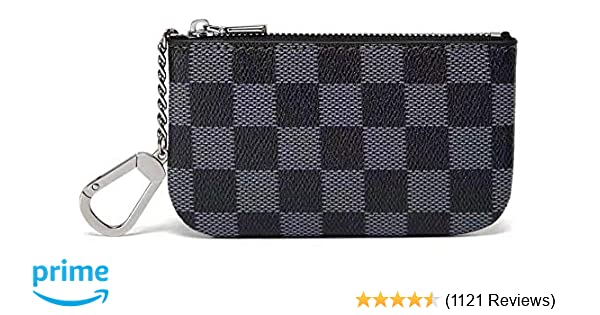 48eb655308a Daisy Rose Luxury Zip Checkered Key Chain pouch | PU Vegan Leather Mini  Coin Purse Wallet with clasp
