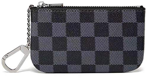 Daisy Rose Luxury Zip Checkered Key Chain pouch   PU Vegan Leather Mini Coin Purse Wallet with clasp (Black) - Leather Coin Purse