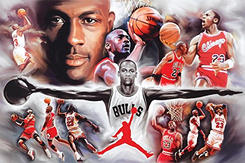 Michael Jordan Wings Collage  Sport Poster Print