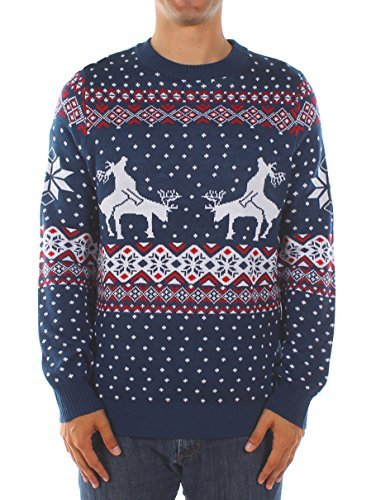 Tipsy Elves Men's Ugly Christmas Sweater - Reindeer Climax Tacky Christmas Sweater Blue Size XL