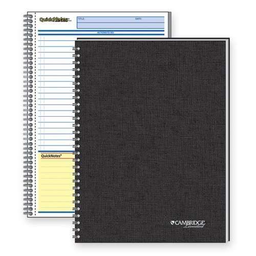 Cambridge 06096 Side Bound Guided Business Notebook, QuickNotes, 8 x 5, White, 80 Sheets by Mead (Image #1)