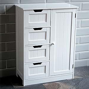 Home discount casa de descuento armario de ba o con 4 for Gabinete de almacenamiento de bano de madera
