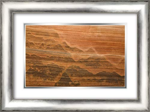 (USA, Utah Desert Varnish Stain on Sandstone Wall 24x17 Silver Contemporary Wood Framed and Double Matted Art Print by Paulson,)