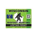 Wisconsin Bigfoot Hunting Permit Sticker Die Cut Decal Sasquatch Lifetime FA Vinyl