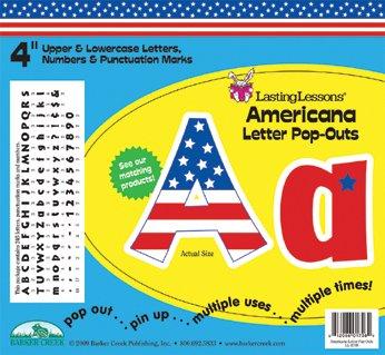 Patriotic Symbols Bulletin Board - Barker Creek 4 H in Letter Pop-Outs, USA, Set of 255