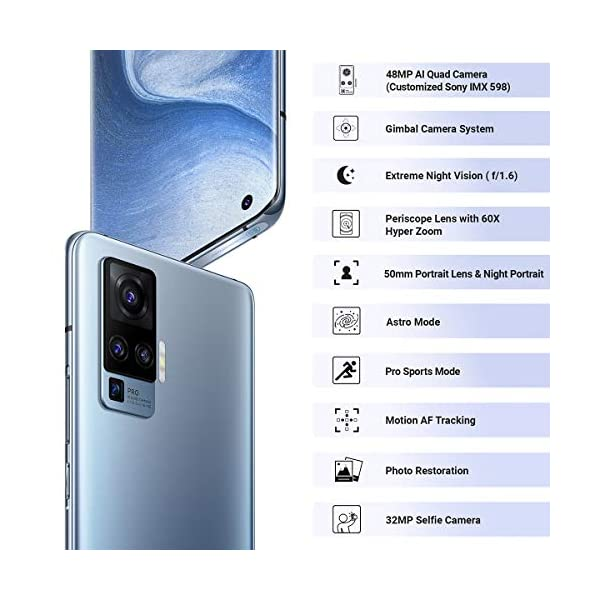 Vivo X50 Pro (Alpha Grey, 8GB RAM, 256GB Storage) with No Cost EMI/Additional Exchange Offers 2021 August 48+13+8+8MP rear camera   32MP front camera 16.66 centimeters (6.56 inch) curved ultra O display with 1080 x 2376 pixels resolution Memory, Storage & SIM: 8GB RAM   256GB internal memory   Dual SIM (nano+nano) dual-standby (4G+4G)