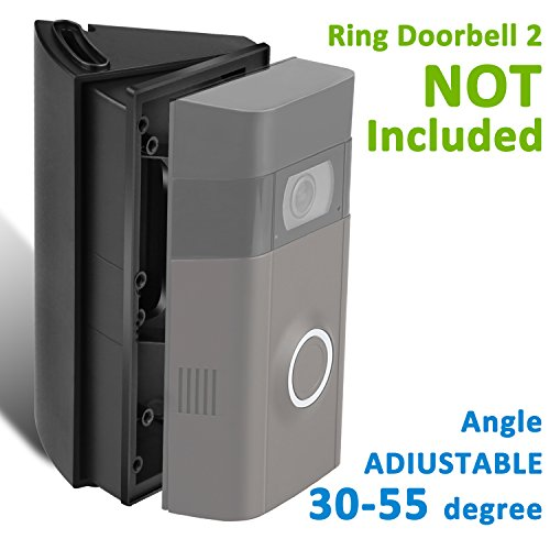 ADJUSTABLE (30 to 55 degree) Angle Mount for Ring Video Doorbell Original and 2nd, Homono Angle Adjustment Adapter / Mounting Plate / Bracket / Wedge Kit (Doorbell NOT included)