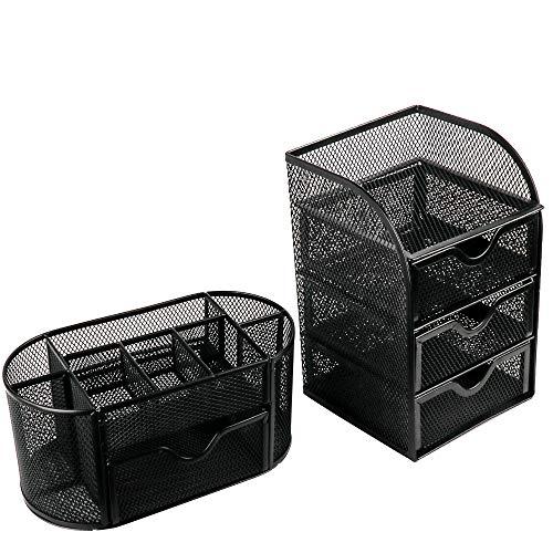 Eathtek Steel Mesh 2 Piece Desk Organizer Set .Oval Desk Supply Caddy and 3 Drawer Mini Hutch Organizer Storage