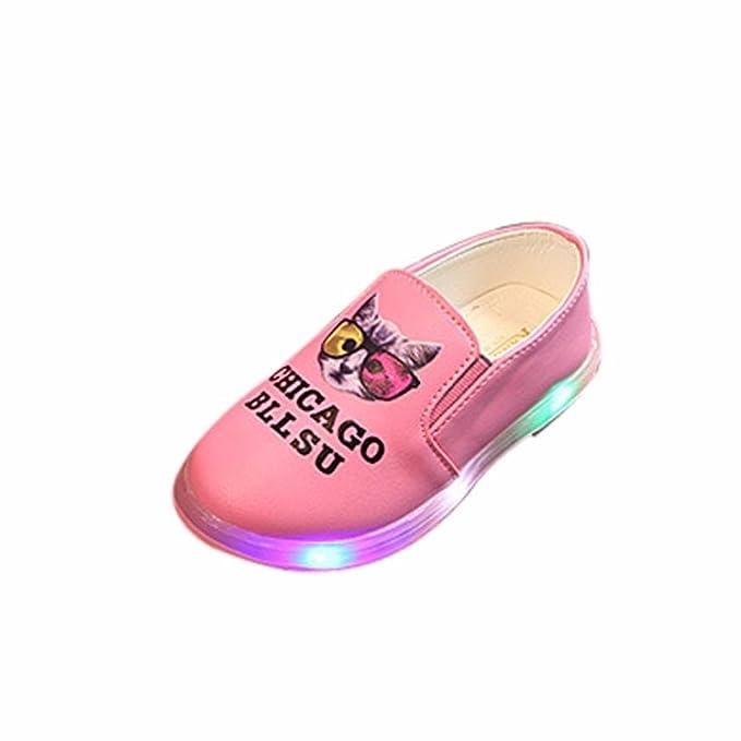 Bebé niño niña LED letra gato arriba zapatillas con luces ,Yannerr recien nacido luminoso colorido