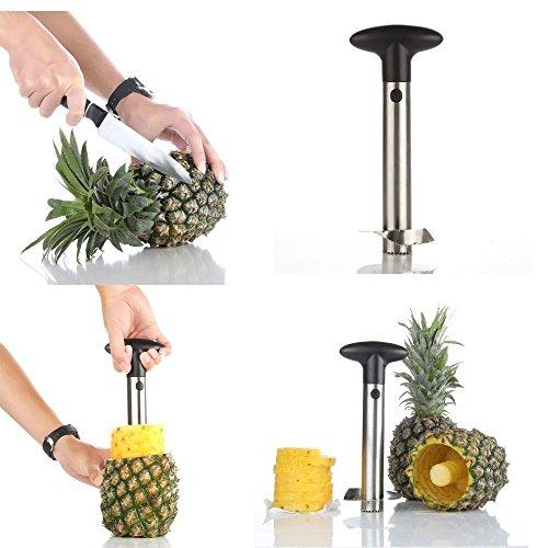 Yesker Silver Stainless Steel Pineapple Corer Peeler Stem Remover Blades for Diced Fruit Rings All in One Pineapple Tool Peeler Slicer
