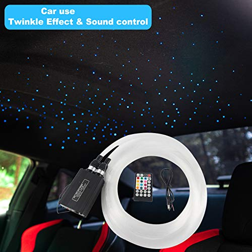 2019 Upgraded Car use 12W Twinkle RGBW LED Fiber Optic Star Ceiling kit Remote Music Mode, Mixed 296 Strands 9.8ft, 0.03in+0.04in+0.06in]()