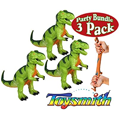 Matty's Toy Stop Toysmith Dinosaur Squishimals T-Rex (Tyrannosaurus Rex) Gift Set Party Bundle - 3 Pack: Toys & Games