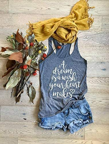 A Dream Is A Wish Your Heart Makes. Screen Printed With Eco Ink. Eco Tri-Blend Disney Tank. Disney Tank. Adult Disney Tank Top. Disney Gift Tank.