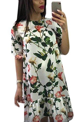 Jaycargogo Floral Manches Courtes Womens Imprimé Lâche Robe Midi Plage Crewneck Sexy 1