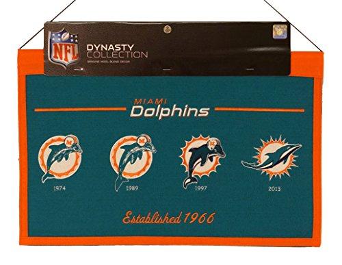 Dolphins Felt Miami Pennant (Winning Streak Miami Dolphins NFL Wool Hanging 22x14 Heritage Banner)