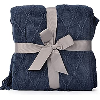 Amazon NTBAY 40% Cotton Cable Knit Throw Blanket Super Soft Awesome Navy Cotton Throw Blanket