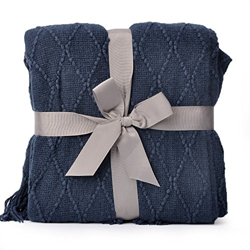Blue Throw Blanket - Battilo Knit Diamond Pattern Decorative Throw Blanket, 50