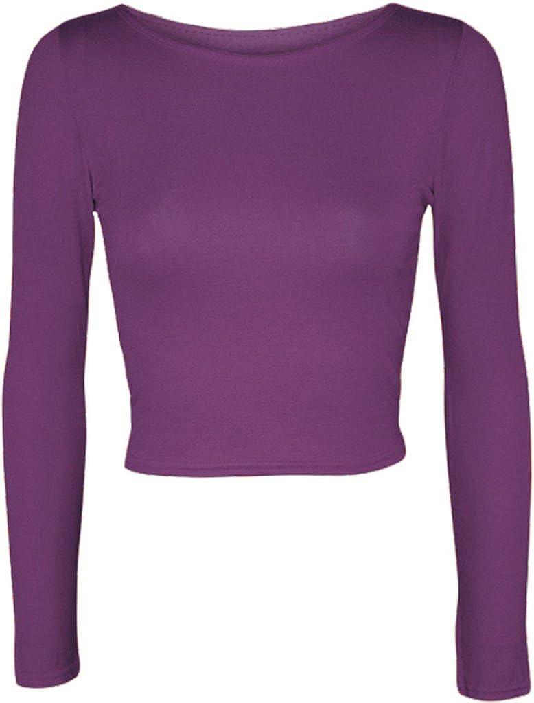 /14/ /EU: 36/ Plus You donna tinta unita Full a maniche lunghe girocollo Slim Fit skinny mini crop top corto maglietta taglia S//M m//L UK: 8/ /42