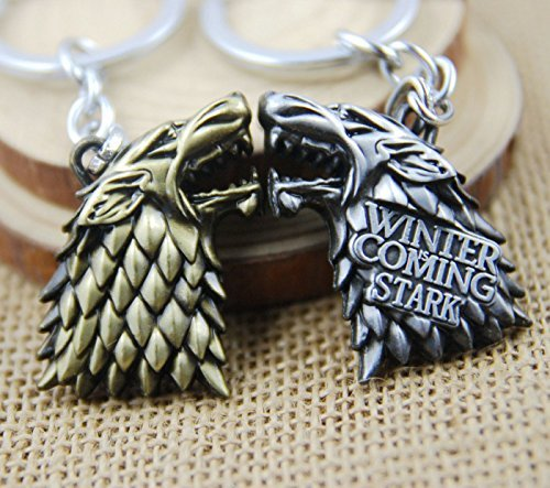 Huloo Thrones Game Stark family flag keychain