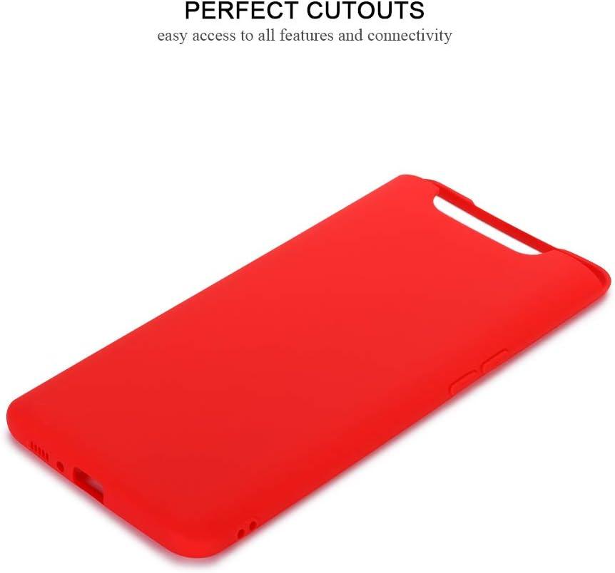 Rojo Funda Galaxy A80 Carcasa Suave Silicona E-Lush Caso Ultra Delgado Flexible Gel TPU Goma Funda para Samsung A80 Carcasa Anti-Ara/ñazos Protector Case Cover para Samsung Galaxy A80