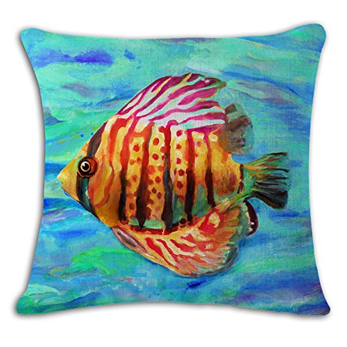 - oFloral Tropical Fish Throw Pillow Case Square Cotton Linen Cushion Cover for Home Sofa Bedroom Living Room Decorative 18