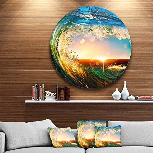 Designart Colored Ocean Waves Falling Down Modern Seashore Metal Wall Art Disc of 38 inch