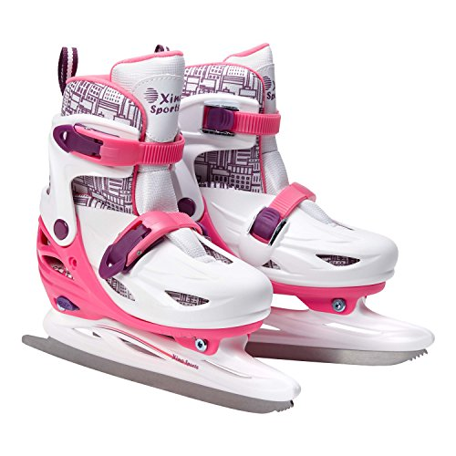 Premium Adjustable Ice Skates for Girls, Two Awesome Colors - Blue and Pink, Super Comfortable Padding and Reinforced Ankle Support, Fun to Skate! (Pink, Medium)