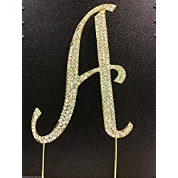 Sparkly Rhinestones Cake Topper - Gold Monogram Decoration for Wedding, Birthday & Anniversary Cakes (Letter A)