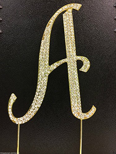 Crystal Letter Cake Toppers (Crystal Rhinestone Covered Gold Monogram Wedding Cake Topper Letter A)