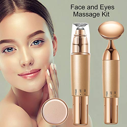 2-IN-1 Face and Eye Massager Set Kit, Electric Face/Eye Roller Masssager for Women, Energy Beauty Bar for Instant Face Lift,Anti-Wrinkles,Skin Tightening,Eliminate Dark Circles (Face/Eye Massager Kit) ()