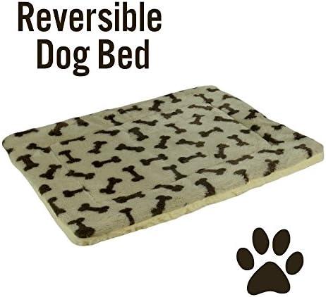 HowPlumb Pet Bed Mat Reversible Bone Print Fleece and Sherpa Crate Pad Dog Cat, Tan and Brown