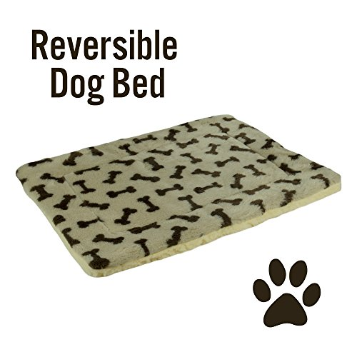 Pet Bed Mat Reversible Bone Print Fleece and Sherpa Crate Pad Dog Cat 23
