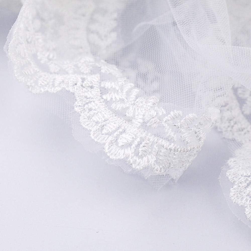 FengJingYuan-ZHUBAO Zwei-Lassene-Applique Edge Hochzeits-Hochzeitsschleier mit Haarkamm