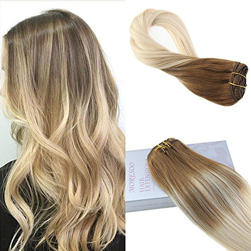 Moresoo 20 Inch Clip in Double Weft Human Hair Extensions Brazilian Hair Extensions Real Hair Clip in #6 Brown Ombre to #60 Blonde Balayage Color Human Hair Extensions Clip on 7PCS 120G Full Head