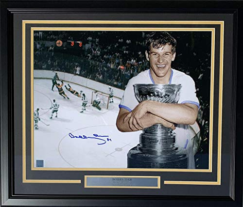 Signed Orr Photo - Framed 16x20 Holding Stanley Cup GNR - Autographed NHL Photos