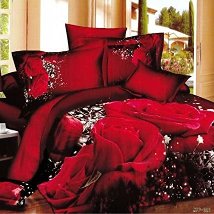 Queen's 800 Thread Count 4 Piece Duvet Cover Set, Queen, 3D Red Rose Black Print