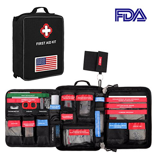 First Aid Medical Kit, Waterproof Molle First Aid Bag w/ Reflective Strip and American Flag Badge, 96-Piece Kit for Emergency at Home, Outdoors, Survival, etc., Black