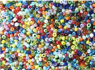 Seed Beads GLASS assorted colors BULK ECONOMY PACK 1/2 kilo (over 1lb) for weaving, loomwork, camp crafts, beading (Bulk Seed Beads)